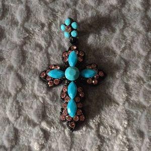 Turquoise/black/mauve Cross Pendant Necklace